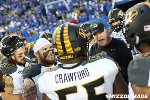 Mizzou Football Offensive Line Coach A.J. Ricker prepares his players to take on the Kentucky Wildcats in Commonwealth Stadium on Saturday, September 26, 2015 in Lexington, Ky.