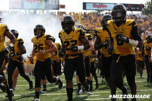 Mizzou Football Safety Anthony Sherrils takes the field as the Tigers prepare to face the SEMO Redhawks in The ZOU on Saturday, September 5, 2015 in Columbia, Mo.