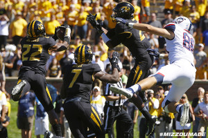 Mizzou Football Safety Anthony Sherrils catches a pass off a fake field goal as the Tigers take on the UCONN Huskies in The ZOU on Saturday, September 19, 2015 in Columbia, Mo.