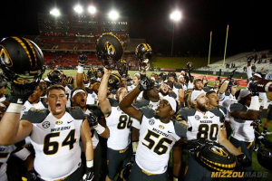 Mizzou Football Family sings the Mizzou Fight Song after winning in Jonesboro, Arkansas on Saturday, September 12, 2015. The Tigers defeated the Red Wolves 27-20.