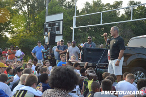 Mizzou Football Head Coach Gary Pinkel speaks to members of the Columbia Youth Football League before practice on Monday, August 31, 2015 in Columbia, Mo.