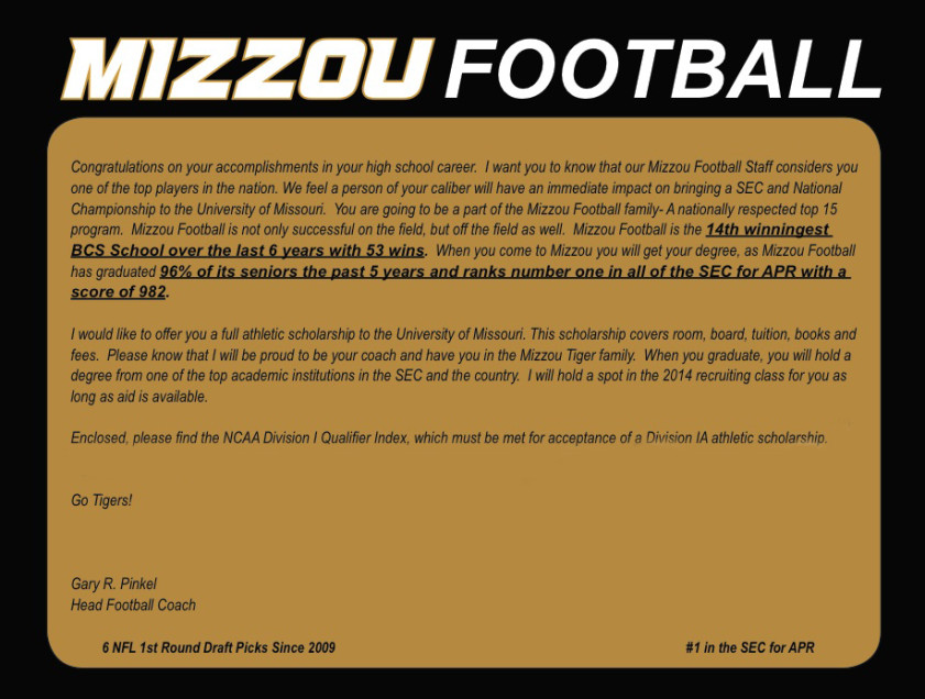 Sample Offer Letter From Mizzou Football Gary Pinkel